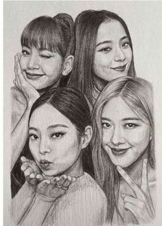 Pink Drawing, Girl Drawing Sketches, Portrait Sketches, Art Drawings Sketches Simple, Realistic Drawings, Kpop Drawings, Girly Drawings, Pencil Drawings, Pencil Sketches Of Faces