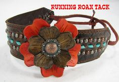 Vintage Scroll Leather Headband with Leather Flowers and Turquoise Buckstitch by Running Roan Tack