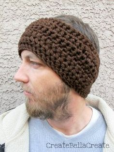 """Basic Ear Warmer - free CROCHET pattern - """"easy"""" - for the guy who doesn't like hats - this will keep his ears warm!"""