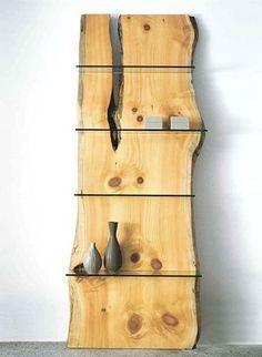 Single-Slab Pine Library Shelves