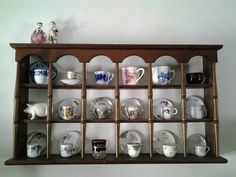 Displays that Mesmerize - Dusty Old Thing Tea Display, Display Shelves, Tea Cup Saucer, Tea Cups, Collection Displays, Displaying Collections, Pots, Old Things, Antiques