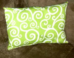 Green Swirl Pillow on Etsy, $15.00