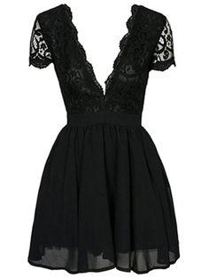 Black Lace Spliced Plunging Neck Skort Sleeve Dress BLACK: Mini Dresses | ZAFUL