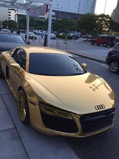 Drive the most expensive cars in the world with themonsyeursjournal.com Gold Cars, Gold Lamborghini, Girly Stuff, Random Stuff, Girly Things, Jet Skies, Audi R8, Audi Quattro, Chrome Cars