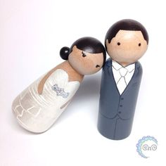 Wedding cake toppers - hand-painted wooden peg dolls : the custom collection wedding cake toppers by sweet whimsy designs