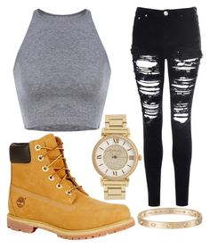 """""""Chilling at home (look at the description)"""" by pinkunicorn007 ❤ liked on Polyvore featuring Cartier, Glamorous, Timberland and Michael Kors"""