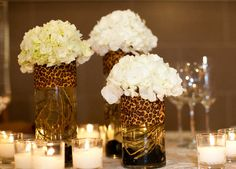 Don't like the cheetah print here, but I can see it with different colors/patterns being quite lovely Más Cheetah Print Wedding, Animal Print Wedding, Leopard Wedding, Leopard Print Party, Cheetah Birthday, Afro Chic, Leopard Decor, Sweet 16 Parties, 50th Birthday Party