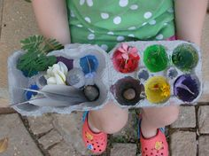 Egg Carton Treasures Hunt: A color scavenger hunt with a craft in the beginning! How to: take and egg carton, cut off the lid and paint each cup with a different color, let dry. Once it is dry, take the egg carton outside and find natural objects that match the color of each cup.