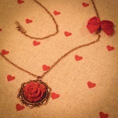 antique bronze necklace red cereamic flower and node