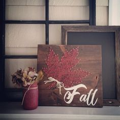 "Approx 13"" x 13"" Cream lettering, gorgeous fall red string.Please allow a week…"