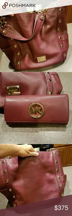 Michael kors Delancy w/matching wallet Sharp set.Burgundy with gold hardware and chains holding strap Michael Kors Bags Shoulder Bags