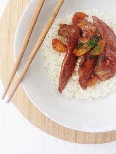 Aiguillettes de canard aux clémentines (sauce miel, sauce soja, piment d'Espelette, persil)