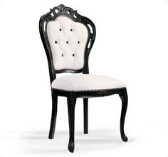 black and white dining chair covers Silla Art Deco, Teak Adirondack Chairs, Black And White Furniture, White Leather Dining Chairs, Wood Arm Chair, Dinning Chairs, Cool Chairs, Upholstered Dining Chairs, Sofa Chester