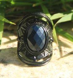 Anel Preto com Pedra Azul