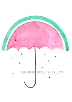 Watermelon umbrella - Original watercolour prints - fruit prints - A4 artwork decor for kids rooms