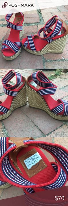 NWOB Tory Burch Adonis Red Wedge Tory Burch Adonis Wedge NWOB, Size 6B. Such beautiful wedges! They've Never been worn, they have slight marks on bottom due to taking the photos on bricks outside Tory Burch Shoes Wedges