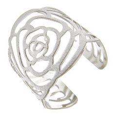 Silver Glitter Rose Cuff - $6.00