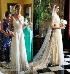 Best Jacquetta Wheeler Celebrity Wedding Dresses 2013 Lace Two-Piece A-Line Long Sleeve 1/2 Chapel Train Online With $203.41/Piece | DHgate