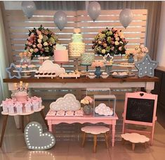 Baby shower rosado y gris Shower Party, Baby Shower Parties, Baby Shower Themes, Bridal Shower, Shower Bebe, Girl Shower, Birthday Decorations, Birthday Party Themes, Mesas Para Baby Shower