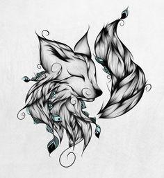 Fox B&W Art Print by LouJah