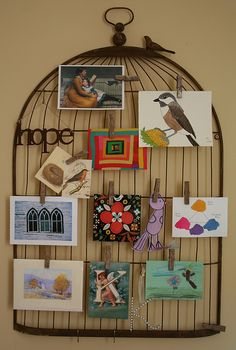bird cage with clothespins