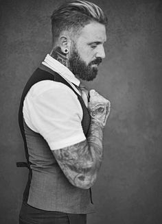 Slick Back Haircut, Beard & Tattoos - Men's Hair Trends 2015-2016