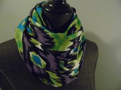INFINITY Scarf.Circle.Tube Scarf. ikat.Teal Blue.Lime.Black.Purple.ITY Jersey Knit.Gift.Her.Daughter.Friend.All Season. Product ID# SC0063 by GamGamzhandcrafted on Etsy