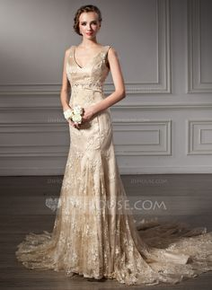 Trumpet/Mermaid V-neck Chapel Train Beading Zipper Up Regular Straps Sleeveless Beach General Plus No Winter Spring Fall Champagne Lace Wedding Dress