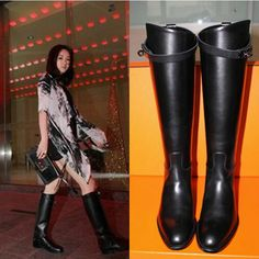 79.99$  Buy here - http://alincr.worldwells.pw/go.php?t=32671430202 - Europe 2015 winter new round flat with leather boots high boots female Biker boots boots size flat
