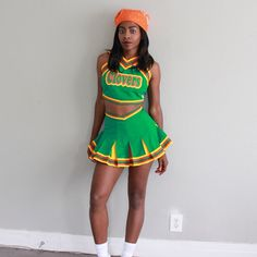 "Bring It On Halloween! This is a custom East Compton Clovers cheer costume (from the movie Bring It On duh). The lady in the photo went as Natina Reed's (RIP) character ""Jenelope"".   Find out more about the costume on her website http://www.missriot.com/2014/11/bring-it-on-halloween.html"