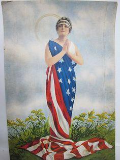 Antique c 1915 MISS LIBERTY Patriotic American Portrait Chromolithograph #3 yqz