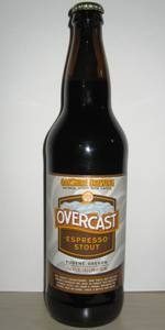 Overcast Espresso Stout,  Oakshire Brewery, Eugene, OR.  Dark malty smooth, with roasty coffee and chocolate flavors.  This one is great for baking brownies, or chocolate cake.  Also One of my favorite breweries, unfortunately only available in Oregon so far.  *Link care of beeradvocate*