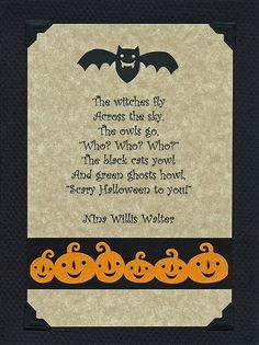 Captivating Witch You Card Inside Verse. The Witches Fly. Halloween Phrases ...