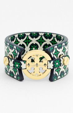 Tory Burch 'Small' Print Leather Bracelet available at #Nordstrom