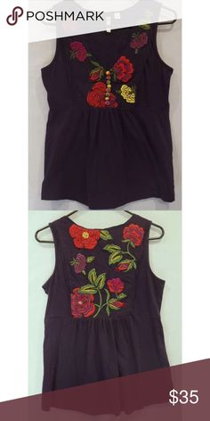 ❤️Anthropologie Little Yellow Button Tank❤️ Excellent condition! Size medium. Embroidered floral pattern on the front and back. Anthropologie Tops Tank Tops