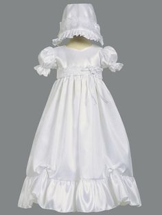 Girls Christening Baptism Dress Gown with Hat FARRAH all sizes