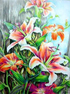 ORIGINALLilies colored pencil drawing by paintingkim on Etsy
