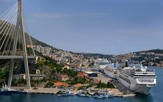 Download wallpapers Dubrovnik, Franjo Tudjman Bridge, resort, passenger liner, city panorama, Croatia