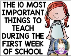 The 10 Most Important Things to Teach During the First Week of School