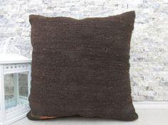 kilim pillow boho decorative pillow 20 x 20 natural wool pillow brown color aztec pillow ethnic pillow outdoor pillow bohemian pillow case