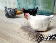 Ceramic Chicken Sculptures, Black Australorp, Plymouth Rock, White Leghorn, Set of THREE -Made to Order
