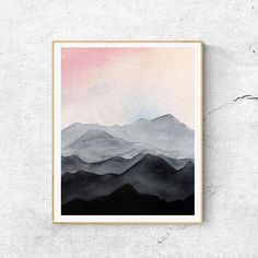 Landscape Ideas For Gardening Watercolor Sunset, Watercolor Landscape, Watercolor Print, Abstract Landscape, Watercolor Paintings, Mountains Watercolor, Lama Animal, Mountain Art, Mountain Modern