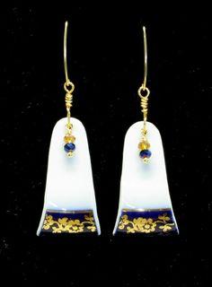Vintage Broken China Floral Tea Cup Earrings   by LeftTDesigns, $18.50