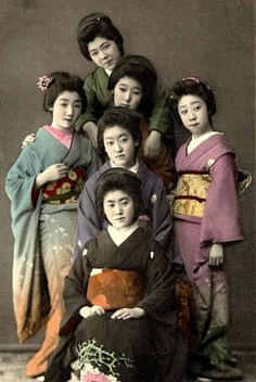 A GAGGLE OF GEISHA -- Kimonos and Faces from Old Meiji-Era Japan by Okinawa Soba, via Flickr.  Besides having some nice, rich tones, this 100-year-old hand colored collotype photo has a slightly shallow depth of field that throws our fine group of ladies into softness as we move toward the back. Nice kimonos for sure --- and a wide range of expressions and feeling being shown here.