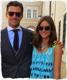 Olivia Palermo and Johannes Huebl. Love Olivia's dress and as always she has the perfect accessories