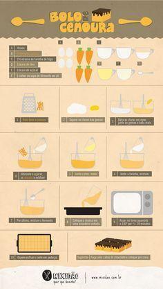 Receita ilustrada de bolo de cenoura http://mixidao.com.br/infografico-do-bolo-de-cenoura/