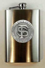 FSU Florida State University Seminoles 8 oz- Script FS Flask with Pewter Logo $32.00 #TeamTailgateShop