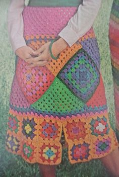 1972 mccall crochet granny square skirt in bold colors!