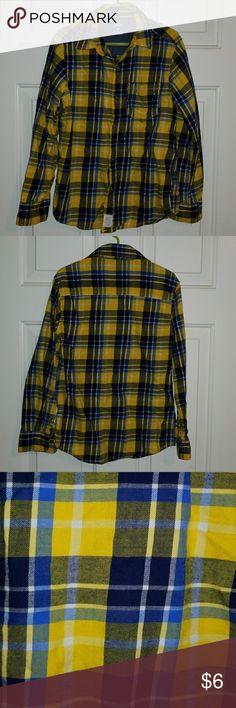 Boys plaid button down shirt Blue and yellow plaid button down shirt great condition Carter's Shirts & Tops Button Down Shirts