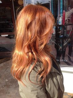 Peach hair extensions, strawberry blonde, rose gold, copper hair, Andrea miller hair.